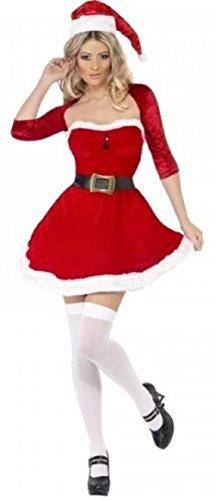 Fancy Me Damen Fieber Santa Baby Weihnachten sexy festlich Kostüm Kleid Outfit 8-18 - Rot, Rot, 12-14