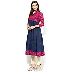 Anjushree Choice Women's Cotton Kurta (ASC048P2_XXL_44 _Blue _XX-Large)