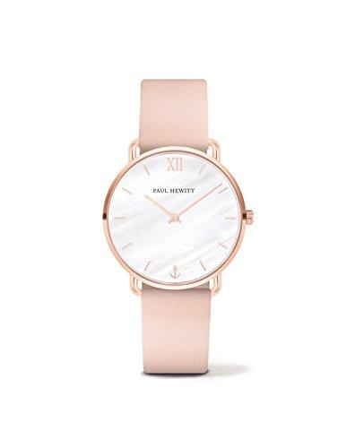 PAUL HEWITT Armbanduhr Damen Miss Ocean Pearl - Damen Uhr (Rosegold), Damenuhr mit Lederarmband (Nude), Ziffernblatt in Perlmutt