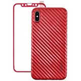 CoBlue 2-in-1 Back and Front Protective Case Cover for iPhone X - Red