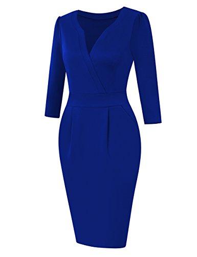 KoJooin Damen Elegant Etuikleider Langarm Knielang Business Kleider Blau