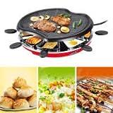 Grill électrique Coréen Sans Fumée Forte Non-adhésive Barbecue Chaud Hot Pot Un Plat à Double Usage Plaque De Cuisson électrique Avec 8 Support De Poche 1300W...