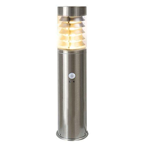 LED Standleuchte, 50cm, Bewegungsmelder und Dämmerungssensor, Sockelleuchte, Außenleuchte, Edelstahl, IP44, E27-230V (Form:S19) (Warmweiß)
