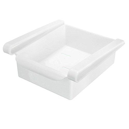 [KÜHLSCHRANK ORGANIZER] - Aufbewahrungsbox - Herausziehbare Schublade Veranstalter - Kunststoff Küche - Platzsparend Ausrichter - Aufbewahrung Rack - Space Saver - Weiß - - Metall Gefrierschrank Rack Für