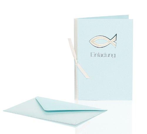 Rössler Papier Einladungskarten für Kommunion / Konfirmation B6 (3 Stück inkl. Einlegeblatt und Umschlag, 12,5 x 17,6 cm) hellblau mit Fisch-Motiv, Metallic-Oberfläche