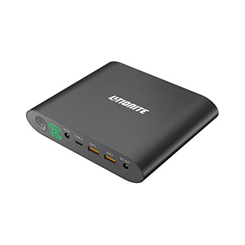 Litionite Tanker Mini 25000mAh Power Bank Batterie Externe en aluminium avec Display LED - 2x USB (Quick Charge 3.0) - 1x USB Type-C - 1x DC - Chargeur portable pour Ordinateur/Smartphone/Tablet/Drone
