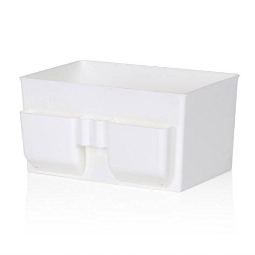 WEIAIXX Kunststoff Kosmetik Remote Kontrolle Lagerung Abendkasse Kommode Desktop-Speicher Hautpflege Schlichten Box Weiß