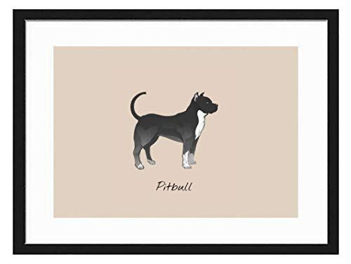 prz0vprz0v 7 x 9 Inch Black Picture Frame Pitbull Decorative Art Prints and Hanging Template, Modern Photo Frame