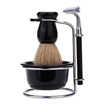 Anself - Rasoir à main 4 en 1 pour homme - Kit de rasage comprenant rasoir, brosse, bol, support en acier et 5 lames de rechange