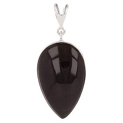 cadeau femme-Pendentif argent et Belle pierre d'obsidienne forme poire inversée sertissage d'argent