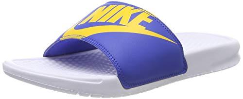 Nike benassi jdi print, scarpe da spiaggia e piscina uomo, bianco (white/univ gold/game royal 104), 44 eu