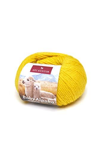 APU KUNTUR 100% Baby-Alpaka Wolle | Strick-Häkel-Garn weich, warm und kratzfrei | einzelnes Knäuel | 100m, Nadel 4 | wunderschöne Farben zum angenehmen Stricken und häkeln | Zitronen-gelb -