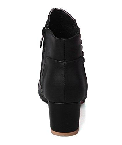 UH Femmes Bottes Sandales Creux Peep Toe à Talons Moyen Carres Fermeture Eclair Comfortables Retro et Loisir Noir