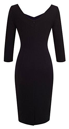 Frauen 3/4 Ärmel Knielangen Farbblock Casual Business Bodycon Kleid B411 HOMEYEE Blau