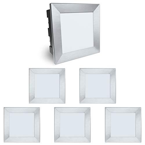 6 Stück SSC-LUXon® Wandeinbaustrahler LED Piko-LQ - quadratische Wandleuchte - IP65 Wasserschutz für Außen 230V 3,5W warmweiß - Aluminium Große Outdoor-wandleuchte