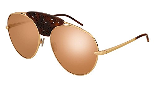 Pomellato pm0033s 003, occhiali da sole donna, oro (003-gold/brown), 59