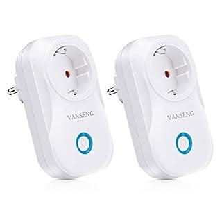 Smart WLAN Steckdose, VANSENG Intelligente Alexa Plug, Arbeit mit Amazon Echo und Google Home, mit App Steuerung überall und zu jeder Zeit, Zeitsteuerung Energiesparfunktion (2 pack)
