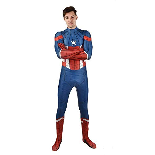 Iron Muster Mann Kostüm - Captain America Spiderman Kostüm 3D-Druck Spandex Lycra Cosplay Siamesische Strumpfhose Kind Erwachsene Themenparty Halloween Requisiten,Child-L