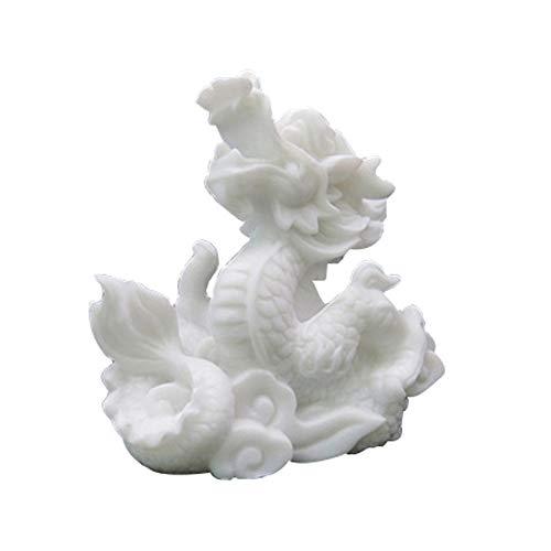 LINGS Drachenstatuen Weißer Marmor Stein Wächter, Chinesisches Sternzeichen Feng Shui Dekor, Für Zuhause Und Büro Reichtum Und Viel Glück, Beste Einweihungsparty Glückwunschgeschenk - Feng Shui Marmor