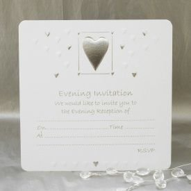 Luxury Wedding Evening Invitations - Pack of 10 - White & Silver by Jean Barrington