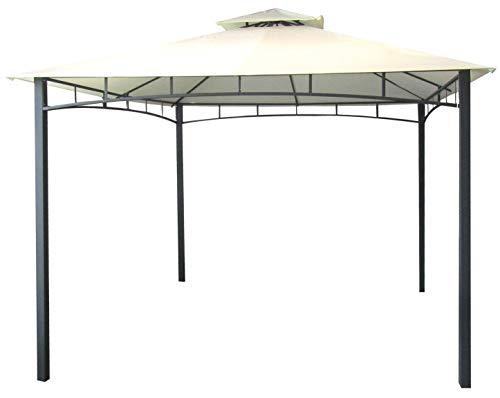 Gazebo da giardino con telo impermeabile ecrù in metallo e ferro nero satinato 3x3 metri antiruggine e doppio tetto anti vento pali portanti 6x6 cm
