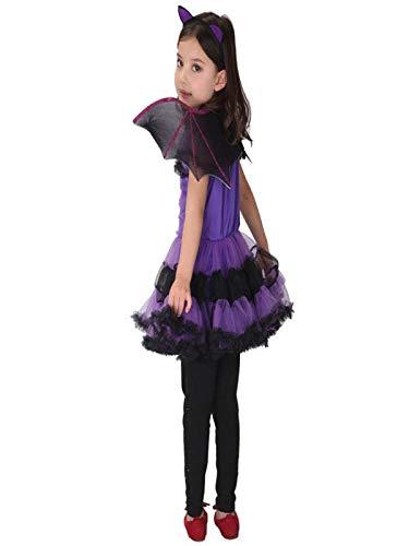 Bezaubernde Hexe Halloween Kostüm Mädchen Halloween Karneval Party Kleid mit Hut und Fledermaus Flügel Halloween Fest von Innerternet (Für Baby Wars-halloween-kostüm Star)
