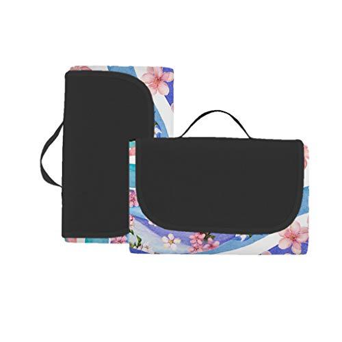 EUCoo 3D-Digitaldruck-Vollpolyester-Oxford-Tuchpicknickmatte/Strandmatte/Matte - Delphinblumen(Mehrfarbig, 148x152cm)