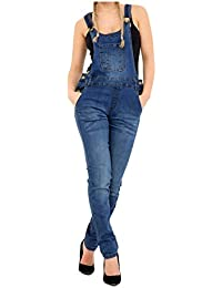 a113dbd32f74 Fashion Oasis Womens Denim Jeans Dungarees Long Length Pinafore Overall  Jumpsuit