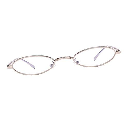 D DOLITY Herren Damen Sonnenbrille Kleine Runde Metallrahmen Oval Brille Katzenaugen Sonnenbrillen Anti-UV Sunglasses - Farbe 7