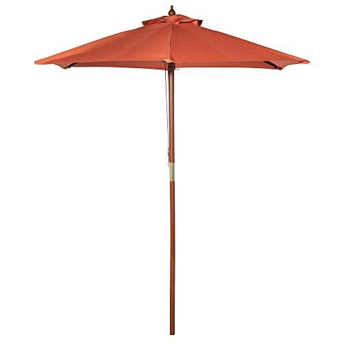 VonHaus 2M Sonnenschirm aus Holz – Parasol für Außen, Garten und Hof – Rot