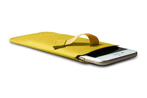 Lucrin - Etui mit Zunge für das iPhone 8/7/6 - Mausgrau - Ziegenleder Senfgelb