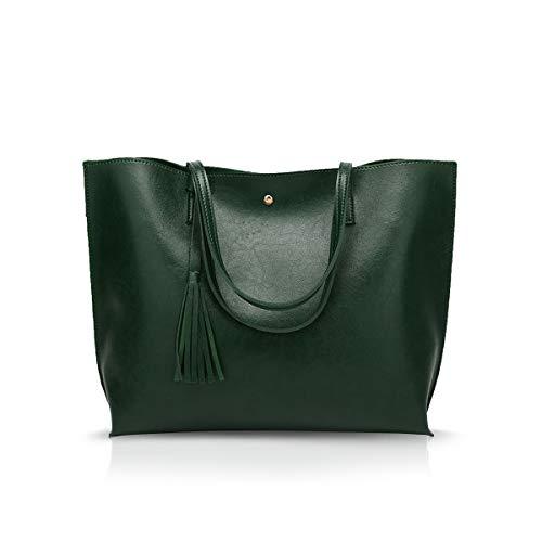 NICOLE&DORIS Damen Tote Tasche Handtasche Schultertasche aus PU-Leder Umhängetaschen Mode große Handtasche Dunkelgrün -
