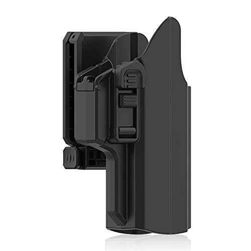 efluky Universal IPSC Holster Pistola Molle Pistolera Airsoft Gun Holster para Glock 17 19/HK USP/Beretta APX/Walther p99/Sig Sauer P320, Belt Clip 360° Adjustable