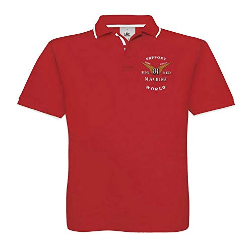 Hells Angels WorldWide Support Store / Big Red Machine World - Hells Angels Anniversary Support 81 Poloshirt Red Big Red Machine, Rot L