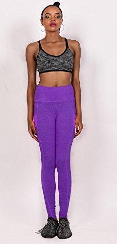 Smile YKK Legging Sport Femme Coton Pantalon Yoga Taille Haute Jogging Running Elastique Violet