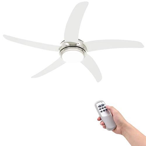 Vidaxl ventilatore da soffitto decorato con luce 128cm bianco lampadario pale