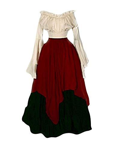 ZhuiKunA Médiéval Déguisement Adulte Maxi Robe-Manches évasées,Cosplay Costume,Toussaint Carnaval Drame Fête Rouge M