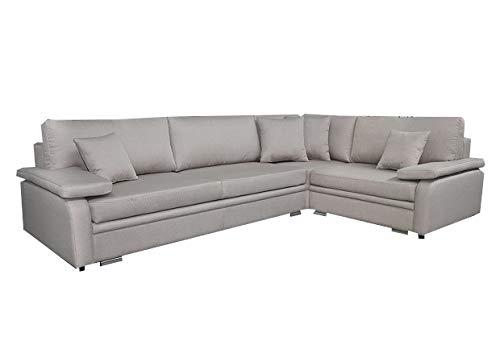 mb-moebel Ecksofa mit Schlaffunktion Eckcouch Sofa Couch L -Form Polsterecke Beige COTULLA