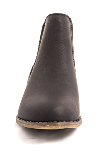 Elara Klassische Damen Chelsea Boots   Stiefeletten Lederoptik   Gefütterte Bequeme Kurzschaft Schwarz