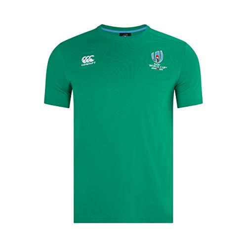 Canterbury Oficial de la Rugby World Cup 2019 Camiseta de algodón, Hombre, Verde bósforo, M