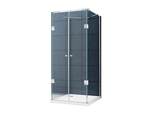 U Form Duschkabine Dusche Benito 90 x 90 x 195cm / 8 mm / ohne Duschtasse