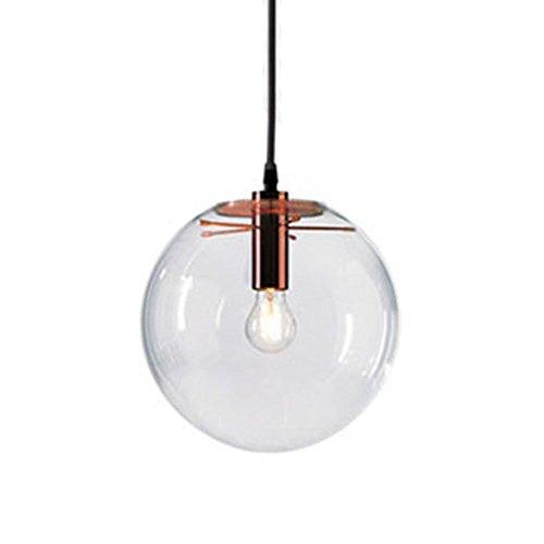 MZStech Suspension de verre classique en verre sphérique Couleur d'or créative Lumière simple en verre Lampe en verre 15CM