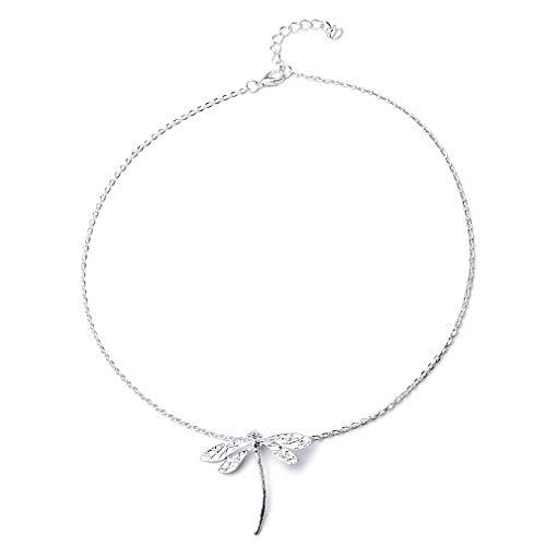 SUNSKYOO Halskette mit Anhänger in Libellen-Form aus Silberlegierung für Mädchen und Frauen -