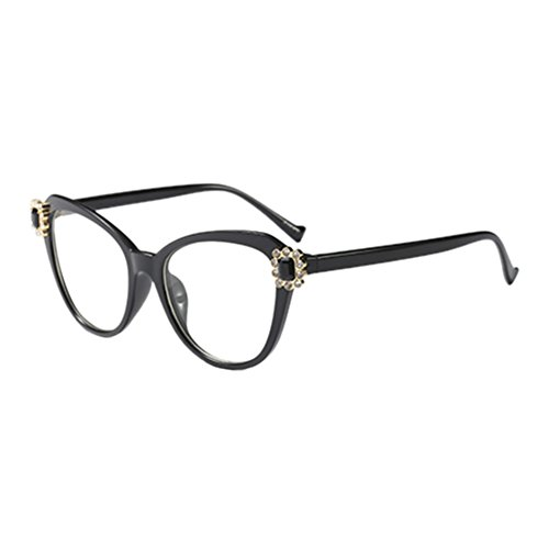 Hzjundasi Retro Stil Cateye Eyeglasses Rahmen Klare Linse Glasses Rhinestone Dekoration Kunststoff Rahmen Mode Damen Im Freien Optisch Brillen