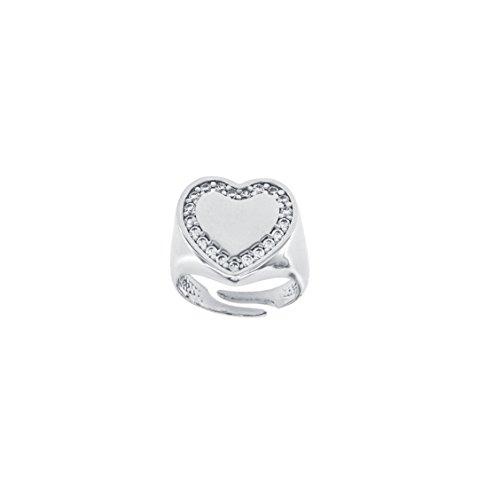 Padre nostro anello donna chevalier con zirconi in argento 925 cuore anelli da mignolo regolabile (cuore zirconi bianchi - rodio)