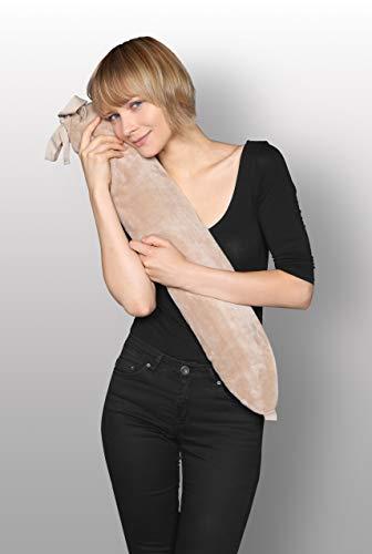 Kanguru 1118George Cream, Lange Wärmflasche mit Kleiner Tasche, Gummi/PVC/Polyester, Beige, 72x 12x 2cm