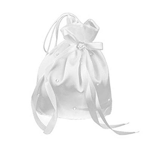 PIXNOR Geldsack für Hochzeit weiß (Blume Perle) (Satin-beutel)