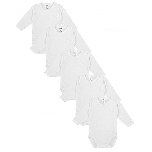 TupTam Unisex Baby Langarm Wickelbody aus Baumwolle 5er Set, Farbe: Weiß, Größe: 56