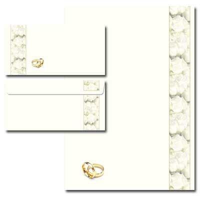 40-tlg. Motivpapier Komplett-Set UNSERE HOCHZEIT 20 Blatt Briefpapier + 20 passende Briefumschläge DIN LANG ohne Fenster