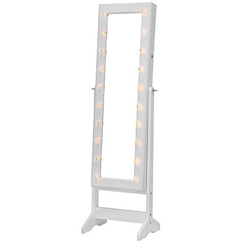 SONGMICS Espejo Joyero con Luces LED con Cerradura Armario de Pie Almacenaje Espacioso Espejo de Cuerpo Entero Luces Decorativas Regalo Festivo Blanco JBC81WT